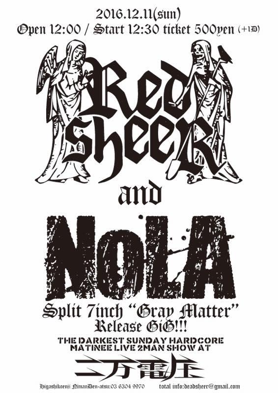 "REDSHEER/NOLA Split 7""EP&発売記念ライヴ"