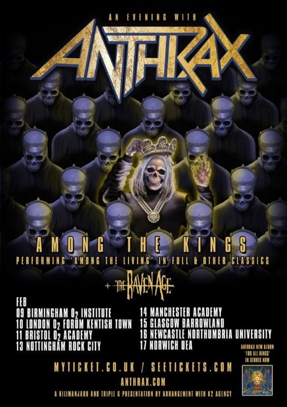 "ANTHRAX 2017 U.K. ""Among The Living"" 30th-anniversary tour"