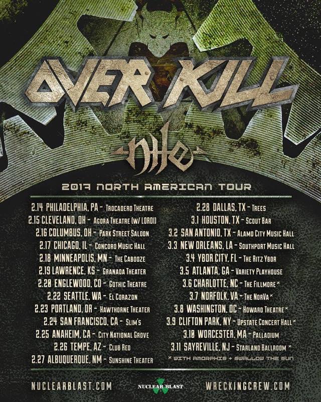 OVER KILL / nile 2017 North American TOUR