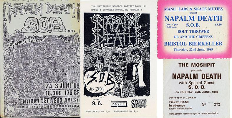 NAPALM DEATH/S.O.BのUK/ヨーロッパツアーのチラシ