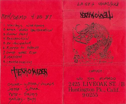 TERRORIZERの名前を世界中のアンダーグラウンド・シーンに広めたデモテープのインデックス